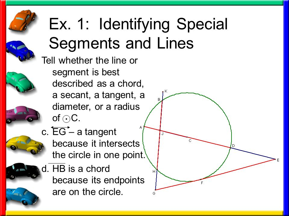 Ex. 1: Identifying Special Segments and Lines Tell whether the line or segment is best described as a chord, a secant, a tangent, a diameter, or a rad