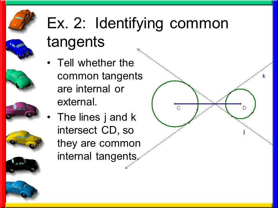 Ex. 2: Identifying common tangents Tell whether the common tangents are internal or external. The lines j and k intersect CD, so they are common inter