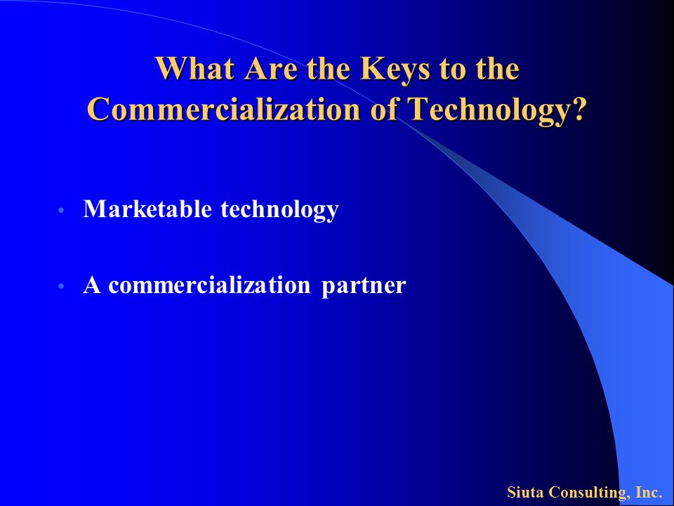 What Are the Keys to the Commercialization of Technology.