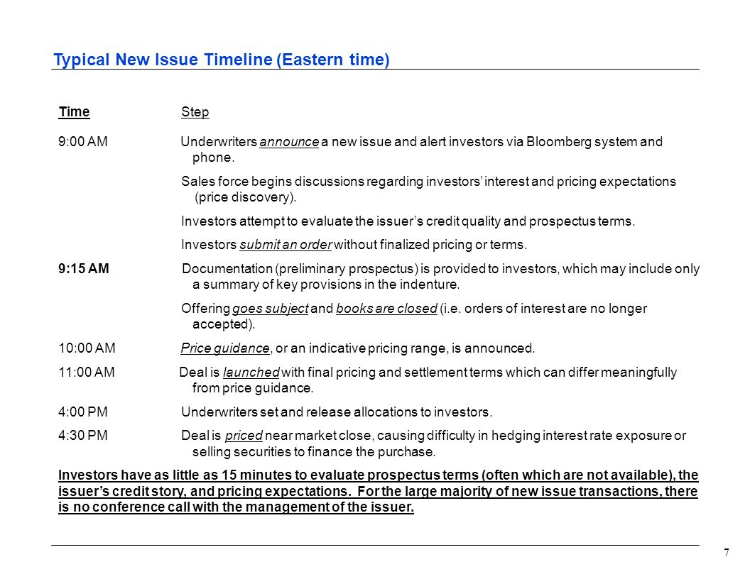 7 Typical New Issue Timeline (Eastern time) Time Step 9:00 AM Underwriters announce a new issue and alert investors via Bloomberg system and phone.