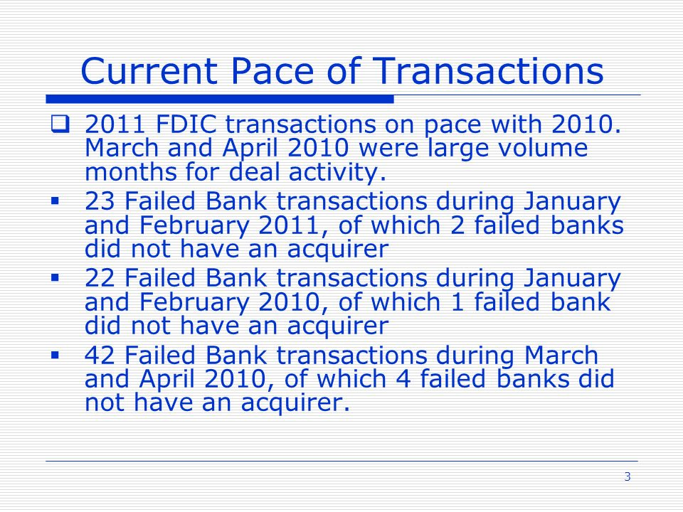 3 Current Pace of Transactions 2011 FDIC transactions on pace with 2010.