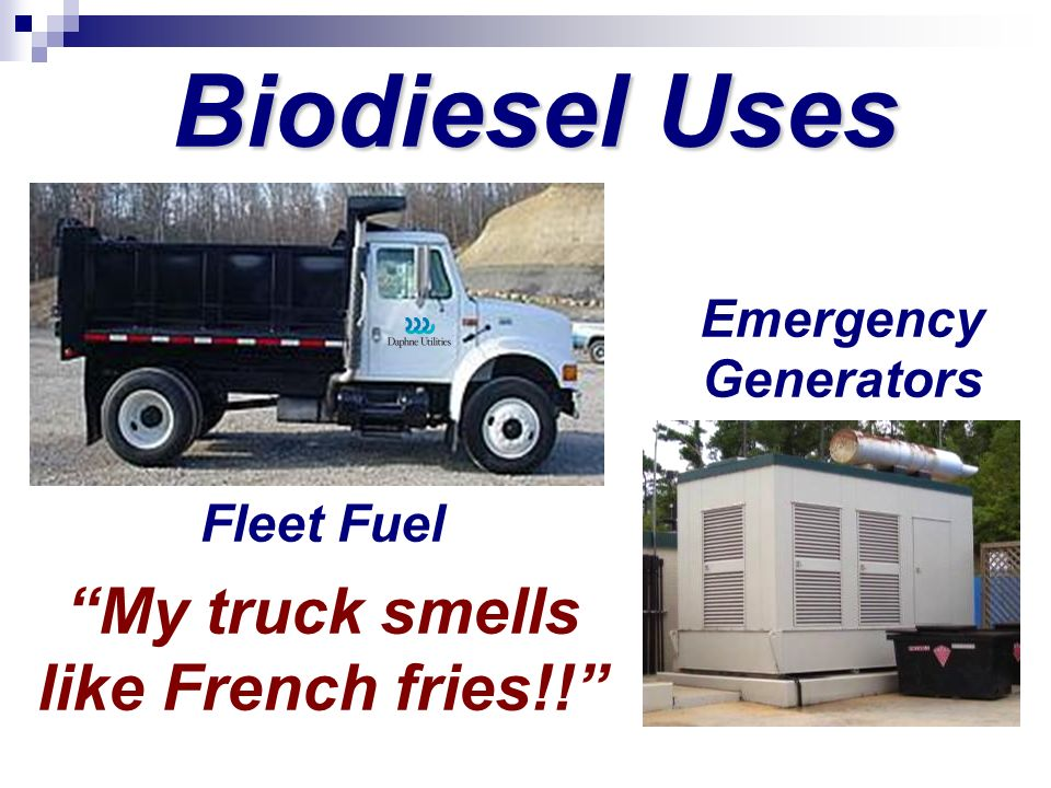 Fleet Fuel My truck smells like French fries!! Emergency Generators Biodiesel Uses
