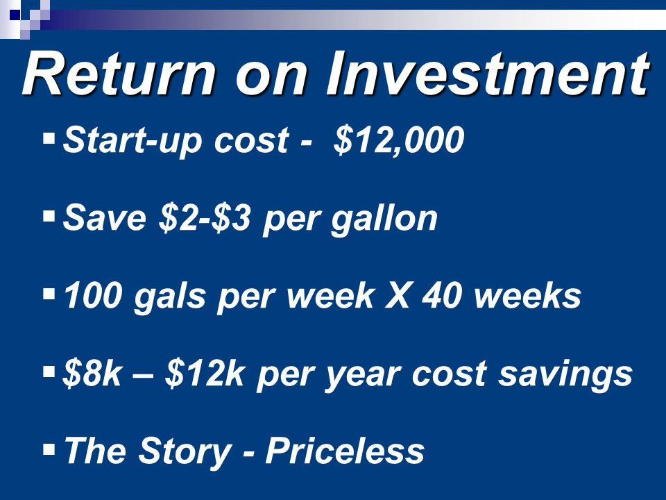 Return on Investment Start-up cost - $12,000 Save $2-$3 per gallon 100 gals per week X 40 weeks $8k – $12k per year cost savings The Story - Priceless