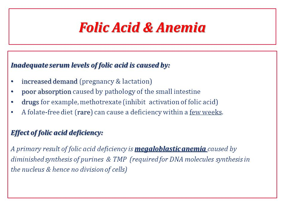 Inadequate serum levels of folic acid is caused by: increased demand increased demand (pregnancy & lactation) poor absorption poor absorption caused b