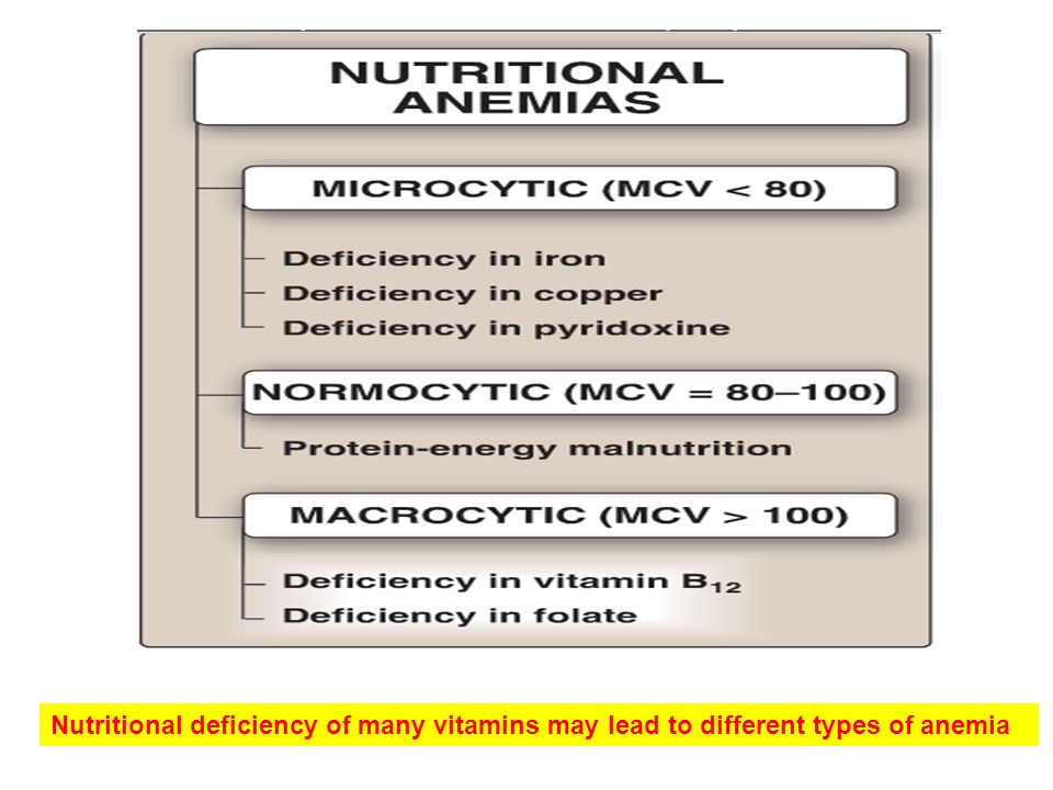 Nutritional deficiency of many vitamins may lead to different types of anemia