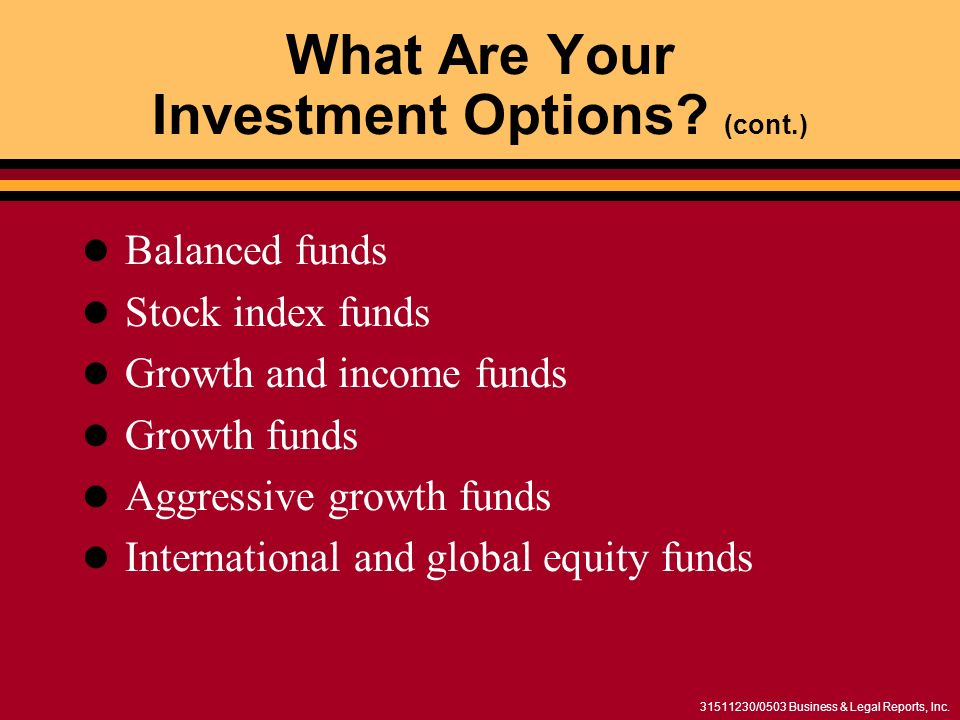 31511230/0503 Business & Legal Reports, Inc. What Are Your Investment Options? (cont.) Balanced funds Stock index funds Growth and income funds Growth