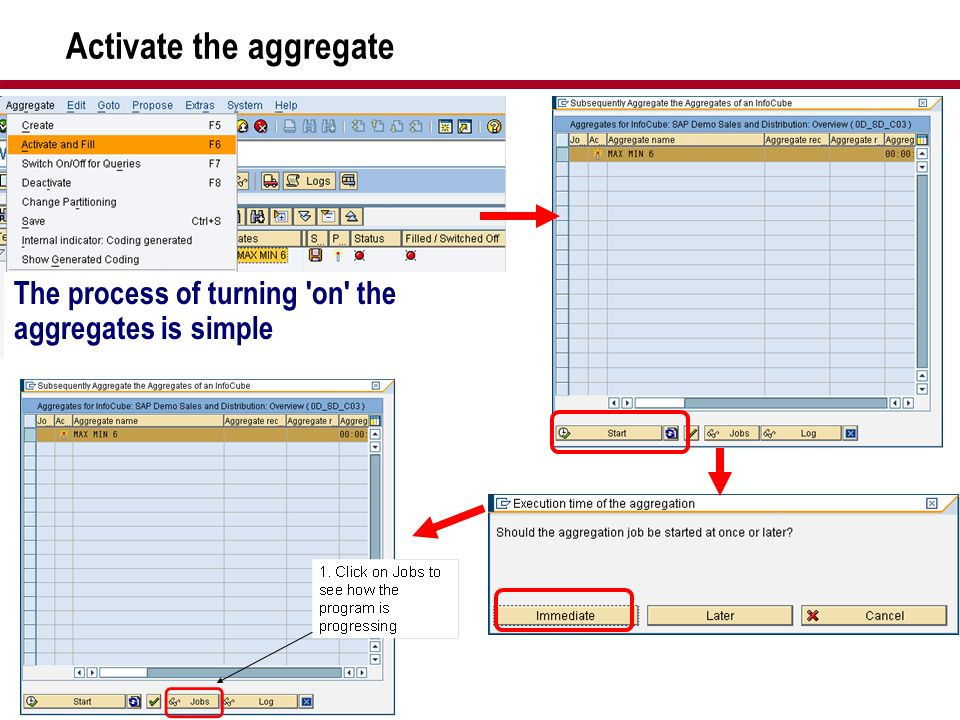 Activate the aggregate The process of turning 'on' the aggregates is simple