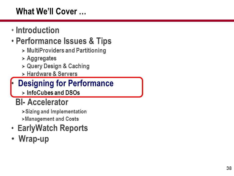 38 What Well Cover … Introduction Performance Issues & Tips MultiProviders and Partitioning Aggregates Query Design & Caching Hardware & Servers Desig