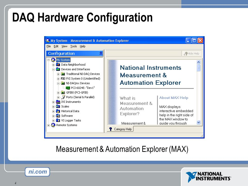 25 Configuring GPIB Board and Instruments Measurement & Automation Explorer (MAX)