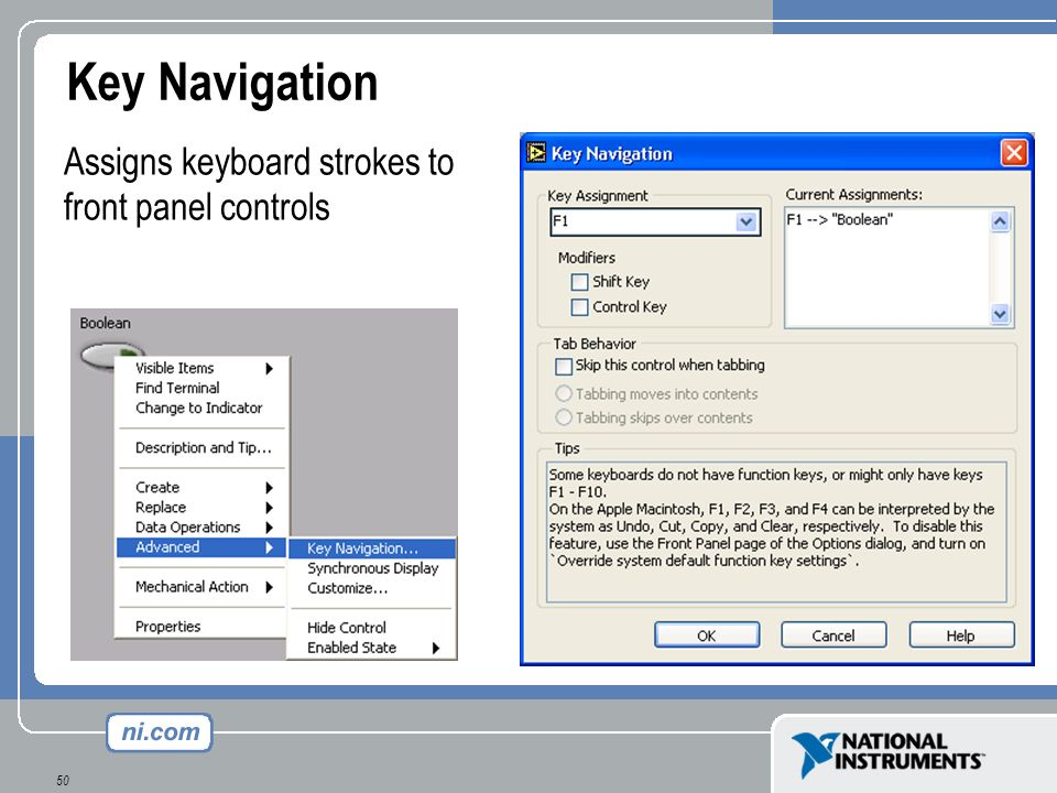 50 Key Navigation Assigns keyboard strokes to front panel controls