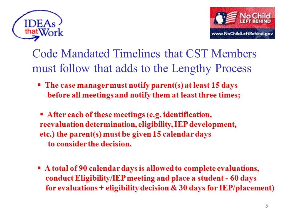 5 Code Mandated Timelines that CST Members must follow that adds to the Lengthy Process The case manager must notify parent(s) at least 15 days The case manager must notify parent(s) at least 15 days before all meetings and notify them at least three times; before all meetings and notify them at least three times; A total of 90 calendar days is allowed to complete evaluations, A total of 90 calendar days is allowed to complete evaluations, conduct Eligibility/IEP meeting and place a student - 60 days conduct Eligibility/IEP meeting and place a student - 60 days for evaluations + eligibility decision & 30 days for IEP/placement) for evaluations + eligibility decision & 30 days for IEP/placement) After each of these meetings (e.g.