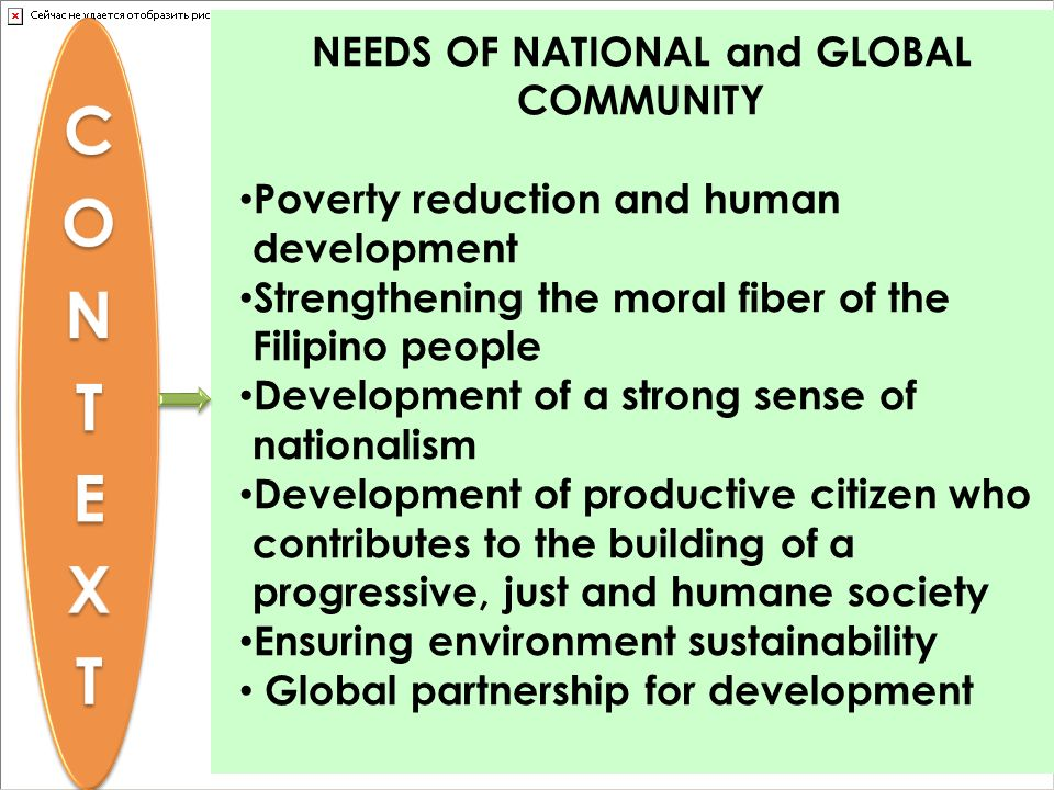 NEEDS OF NATIONAL and GLOBAL COMMUNITY Poverty reduction and human development Strengthening the moral fiber of the Filipino people Development of a s