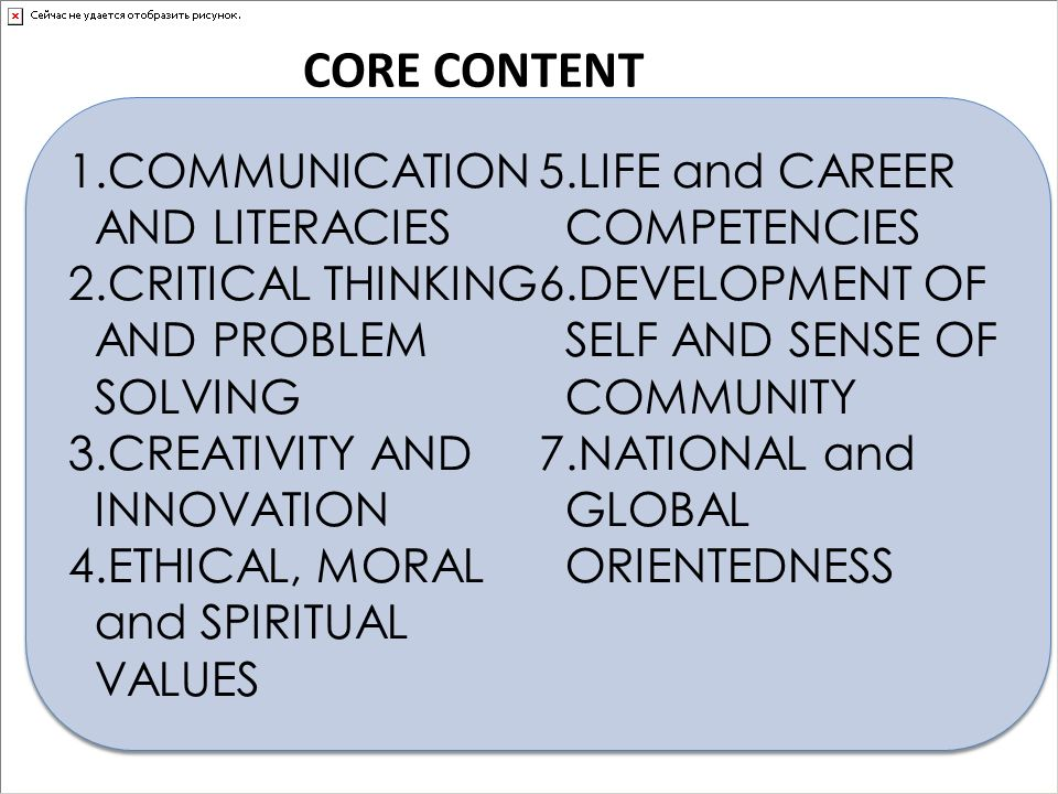 CORE CONTENT 1.COMMUNICATION AND LITERACIES 2.CRITICAL THINKING AND PROBLEM SOLVING 3.CREATIVITY AND INNOVATION 4.ETHICAL, MORAL and SPIRITUAL VALUES