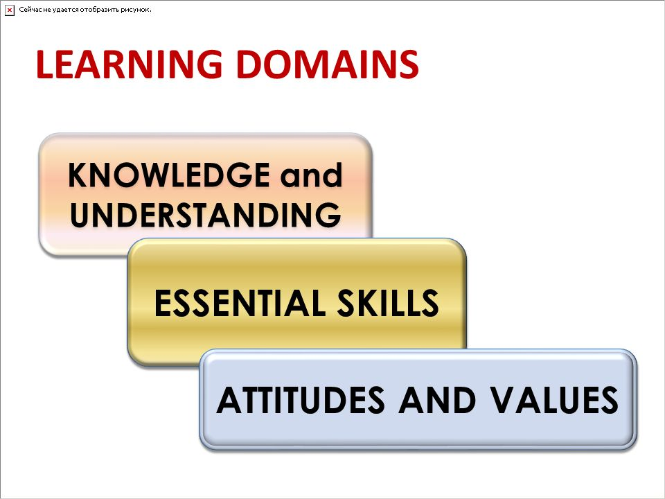 KNOWLEDGE and UNDERSTANDING ESSENTIAL SKILLS ATTITUDES AND VALUES LEARNING DOMAINS