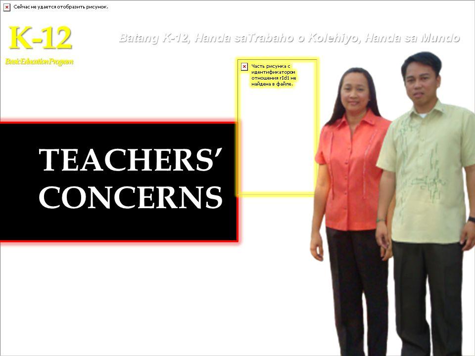 TEACHERS CONCERNS K-12 Basic Education Program Batang K-12, Handa saTrabaho o Kolehiyo, Handa sa Mundo