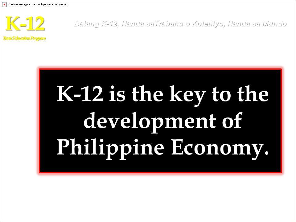 K-12 is the key to the development of Philippine Economy. K-12 Basic Education Program Batang K-12, Handa saTrabaho o Kolehiyo, Handa sa Mundo