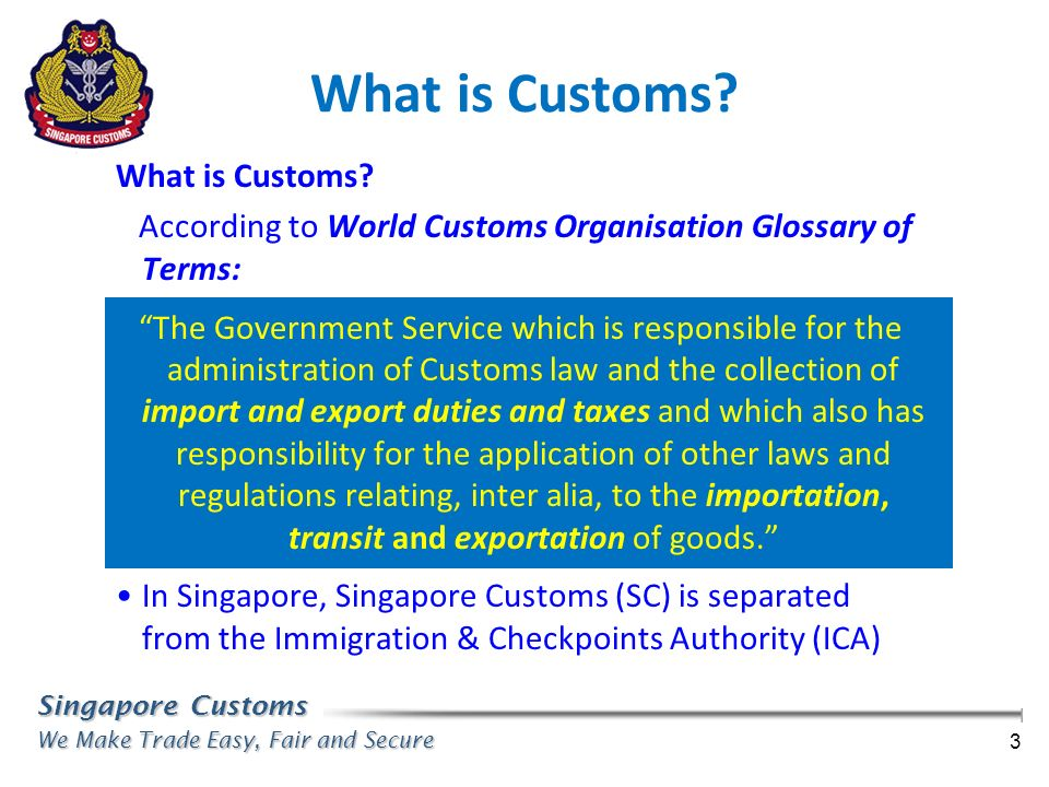 Singapore Customs We Make Trade Easy, Fair and Secure 3 What is Customs? According to World Customs Organisation Glossary of Terms: The Government Ser
