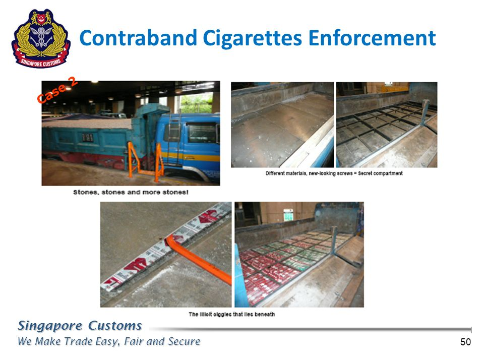 Singapore Customs We Make Trade Easy, Fair and Secure 50 Case 2 Contraband Cigarettes Enforcement