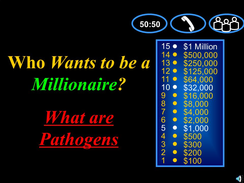 15 14 13 12 11 10 9 8 7 6 5 4 3 2 1 $1 Million $500,000 $250,000 $125,000 $64,000 $32,000 $16,000 $8,000 $4,000 $2,000 $1,000 $500 $300 $200 $100 Who