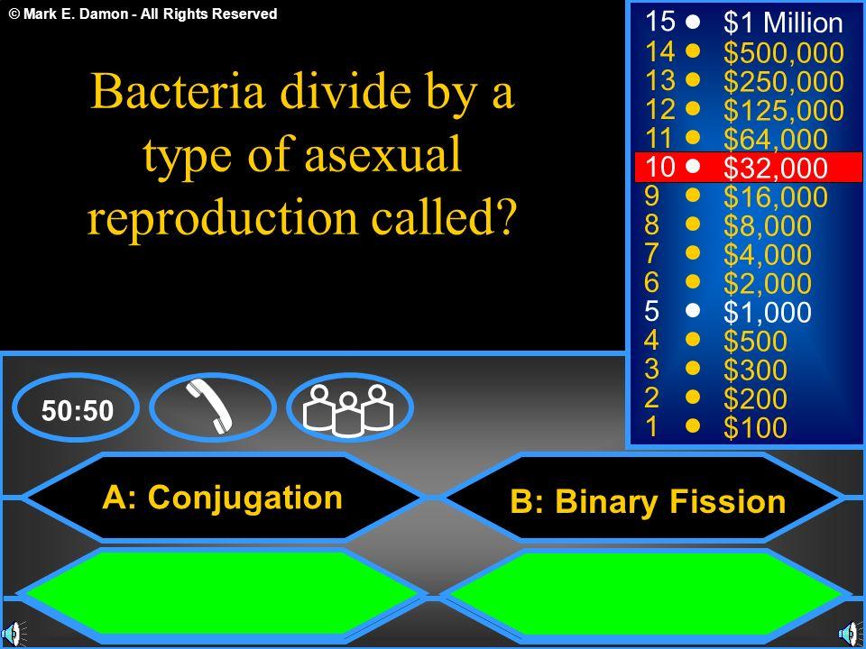 © Mark E. Damon - All Rights Reserved A: Conjugation C: Fertilization B: Binary Fission D: Binary Fussion 50:50 15 14 13 12 11 10 9 8 7 6 5 4 3 2 1 $1