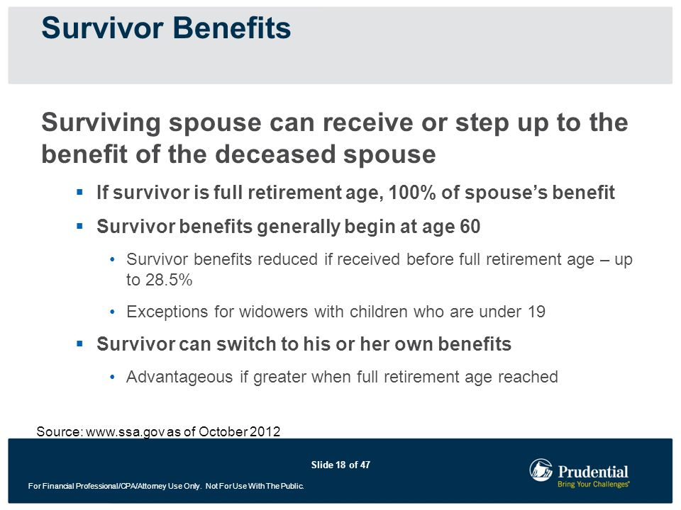 Slide 18 of 47 For Financial Professional/CPA/Attorney Use Only. Not For Use With The Public. Surviving spouse can receive or step up to the benefit o