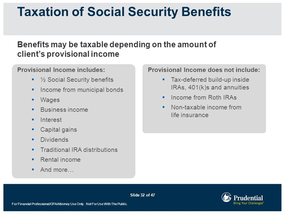 Slide 32 of 47 For Financial Professional/CPA/Attorney Use Only. Not For Use With The Public. Taxation of Social Security Benefits Provisional Income