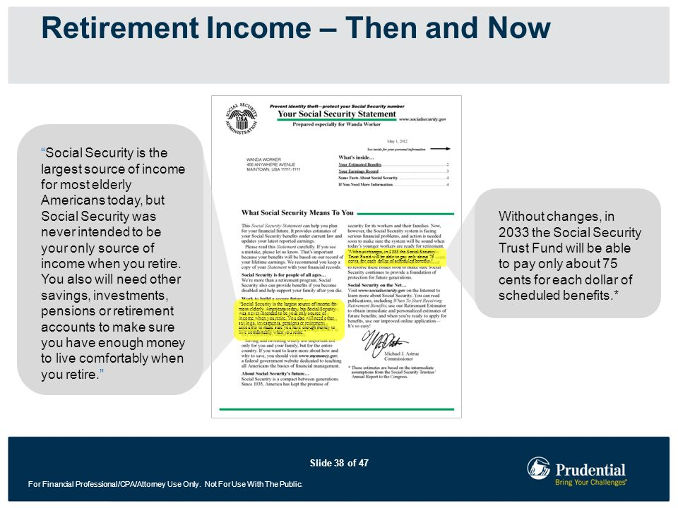 Slide 38 of 47 For Financial Professional/CPA/Attorney Use Only. Not For Use With The Public. Retirement Income – Then and Now Social Security is the