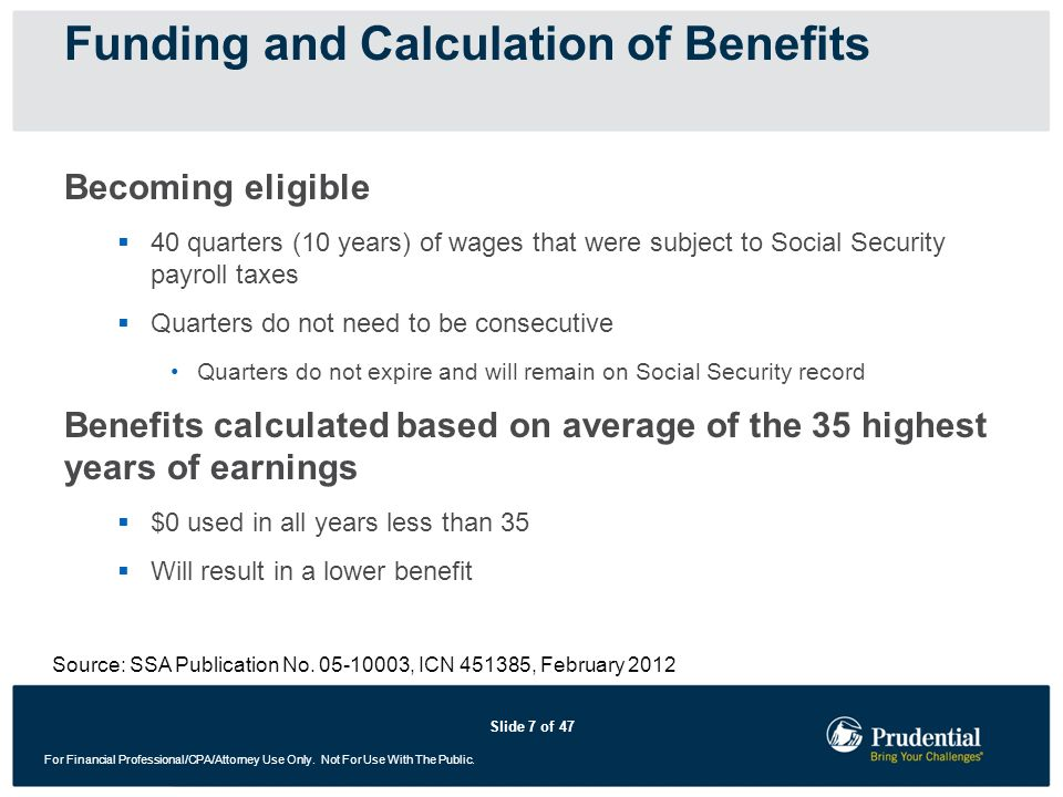 Slide 7 of 47 For Financial Professional/CPA/Attorney Use Only. Not For Use With The Public. Becoming eligible 40 quarters (10 years) of wages that we