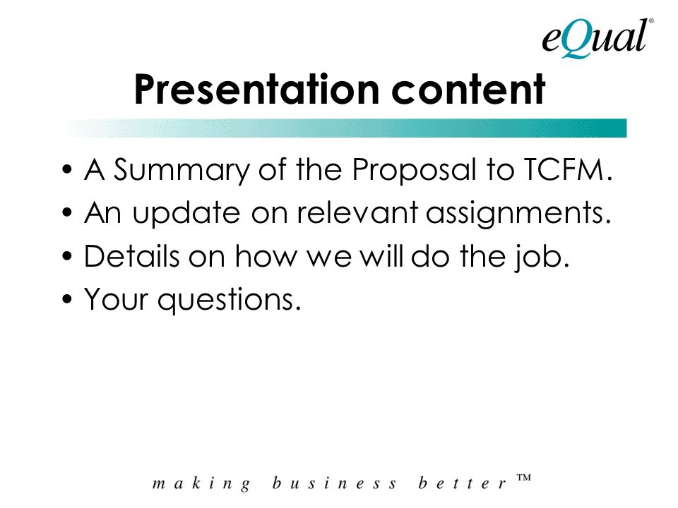 TCFM Presentation to Board Preparation of a Business Plan and Implementation Plan