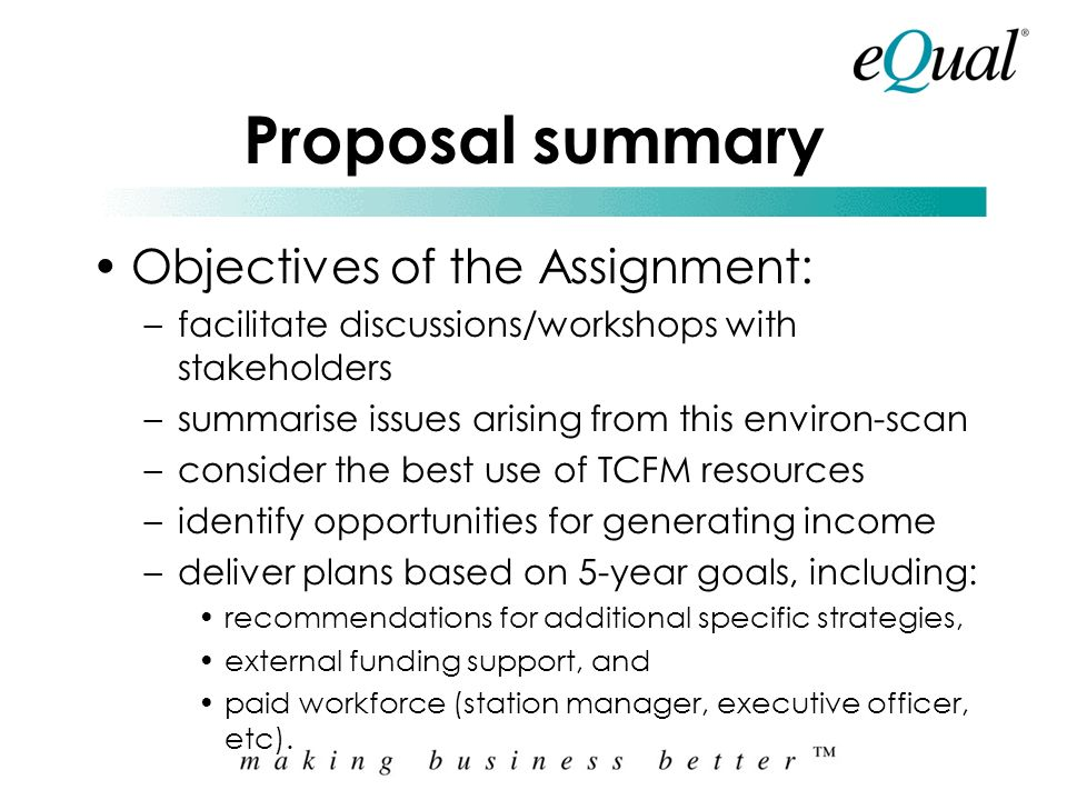Proposal summary Introduction to Equal Consulting Group: –Co-operative of independent consulting practices Equal Management Services is the main pract