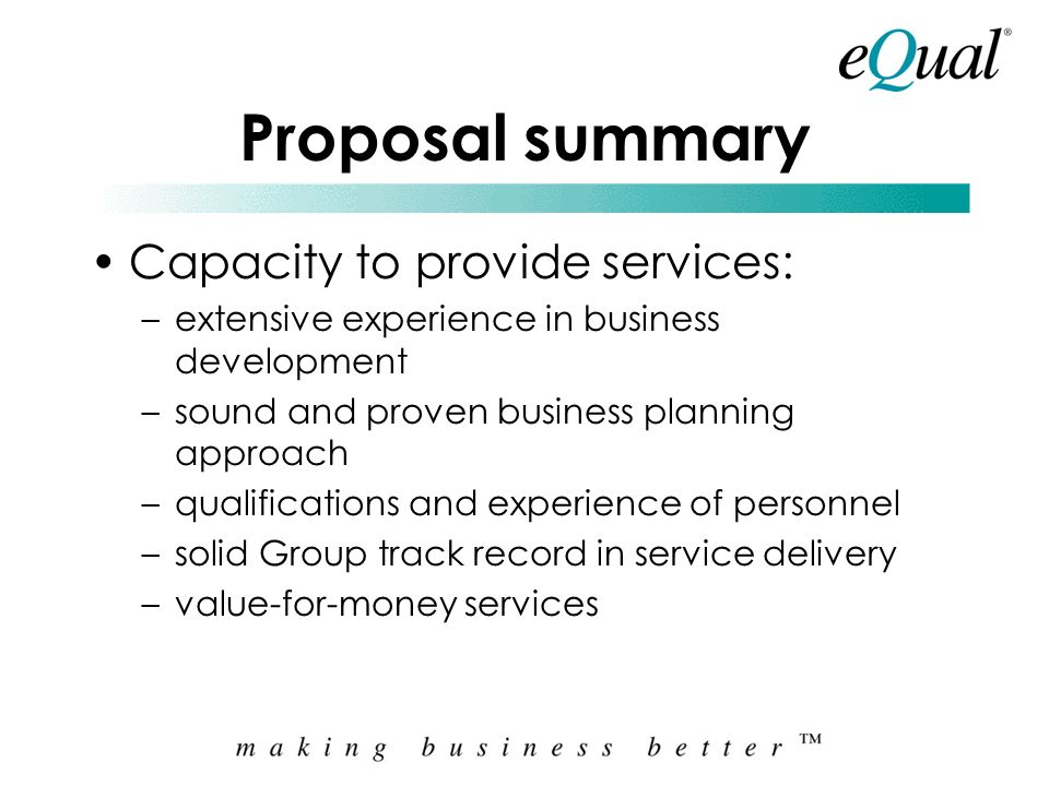 Proposal summary Objectives of the Assignment: –facilitate discussions/workshops with stakeholders –summarise issues arising from this environ-scan –c