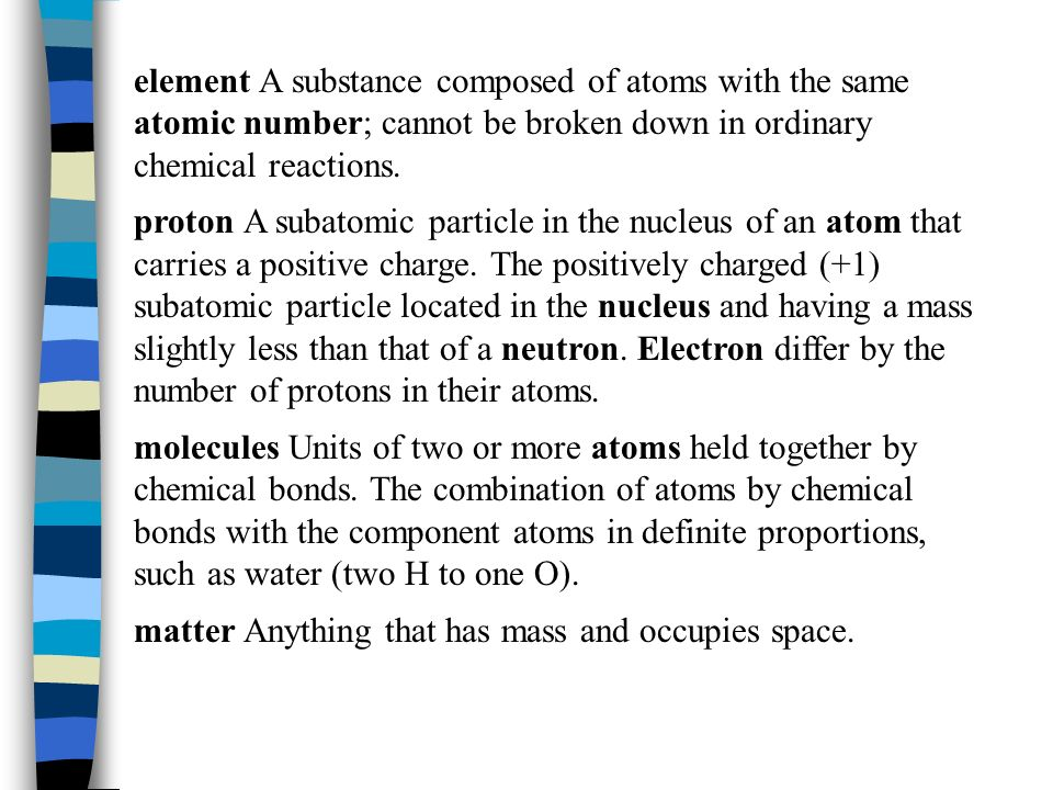 atom The smallest indivisible particle of matter that can have an independent existence. atomic number The number of protons in the nucleus of an atom