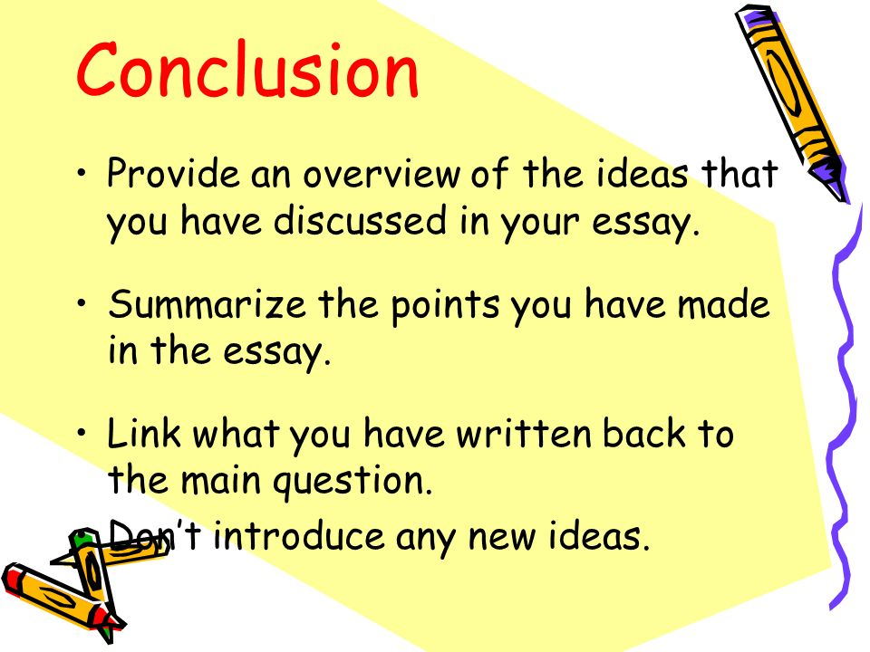Conclusion Provide an overview of the ideas that you have discussed in your essay. Summarize the points you have made in the essay. Link what you have