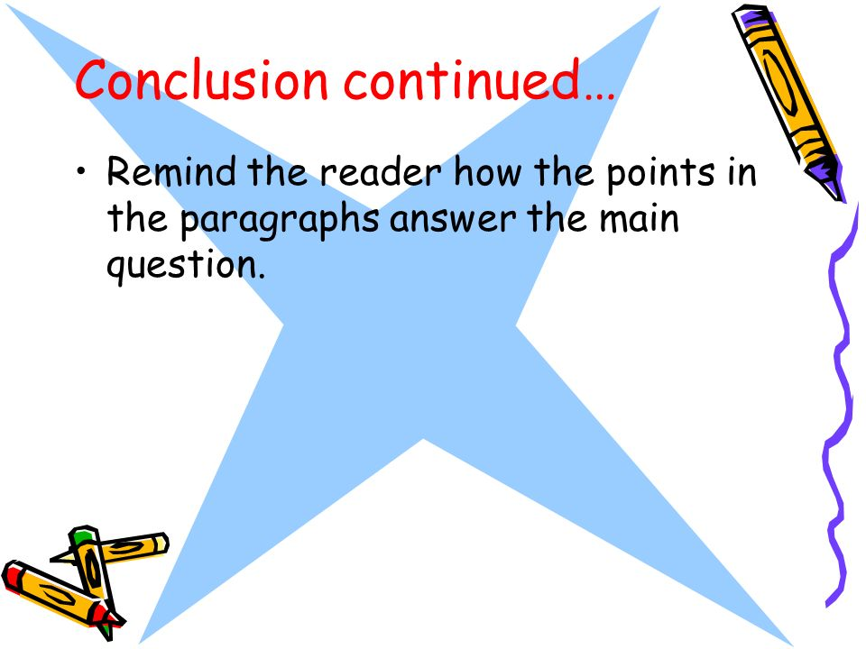 Conclusion continued… Remind the reader how the points in the paragraphs answer the main question.