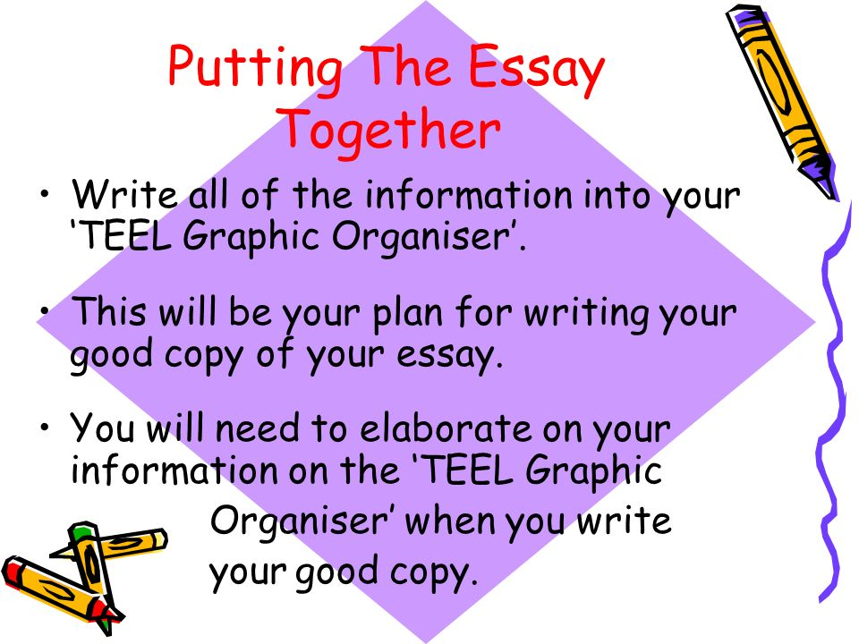 Putting The Essay Together Write all of the information into your TEEL Graphic Organiser. This will be your plan for writing your good copy of your es