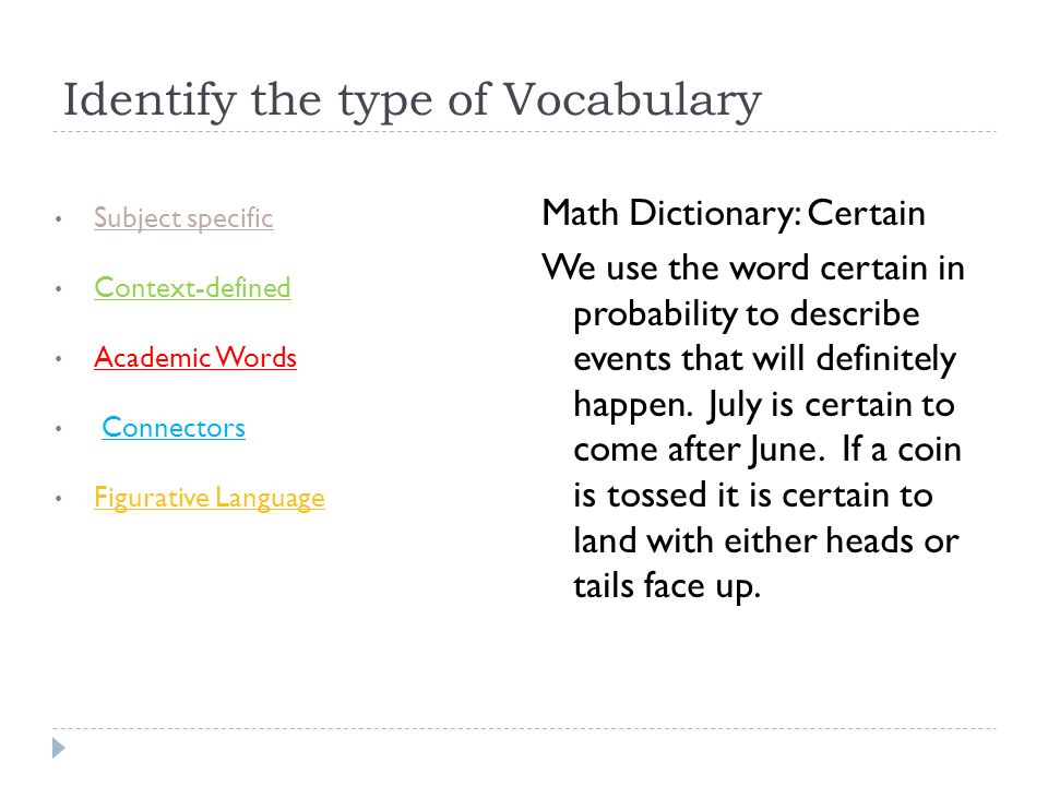 Identify the type of Vocabulary Subject specific Context-defined Academic Words Connectors Figurative Language Math Dictionary: Certain We use the wor