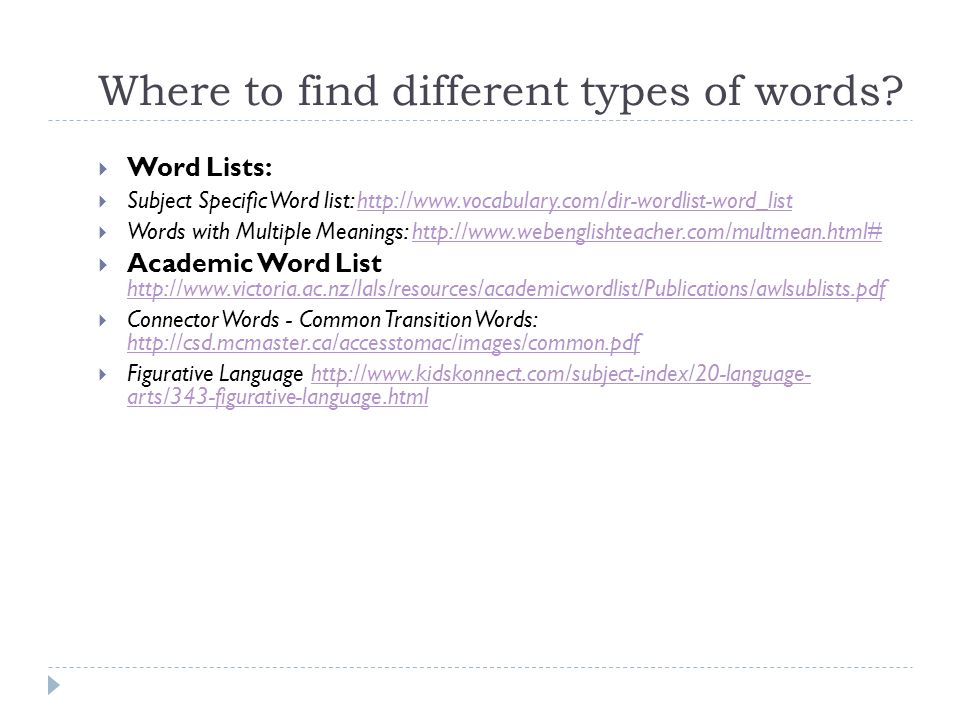 Where to find different types of words? Word Lists: Subject Specific Word list: http://www.vocabulary.com/dir-wordlist-word_listhttp://www.vocabulary.