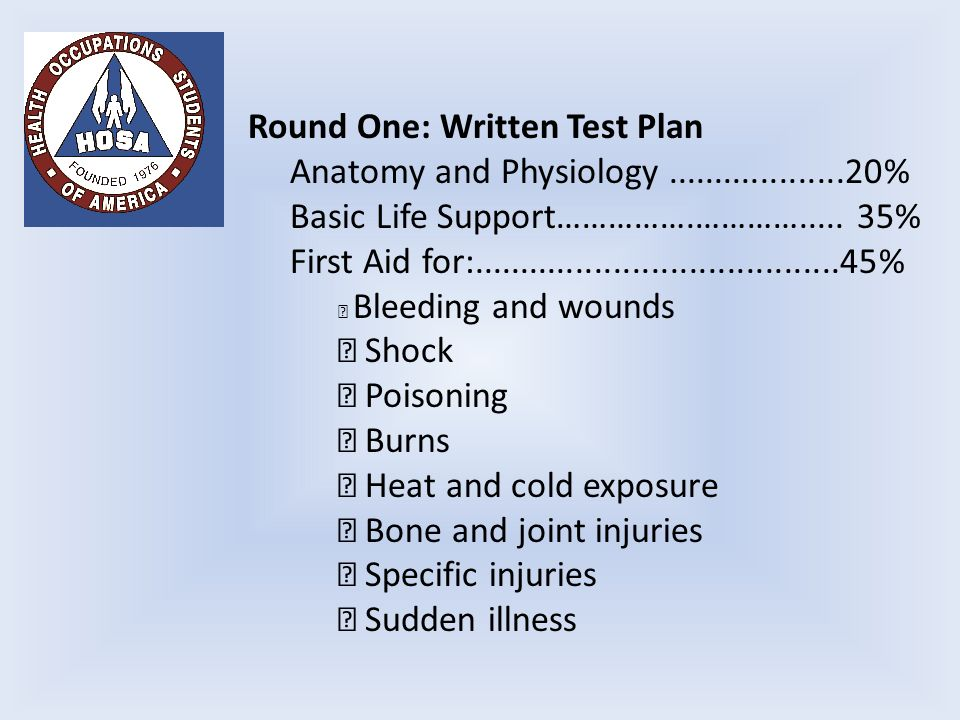 Round One: Written Test Plan Anatomy and Physiology % Basic Life Support…………….………….....