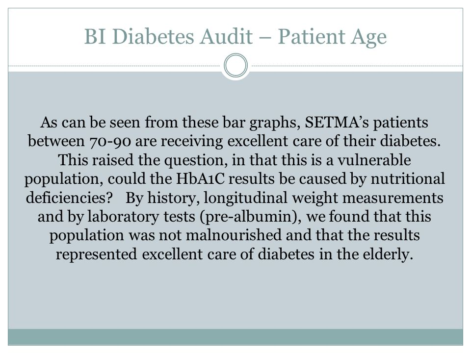 As can be seen from these bar graphs, SETMAs patients between 70-90 are receiving excellent care of their diabetes.