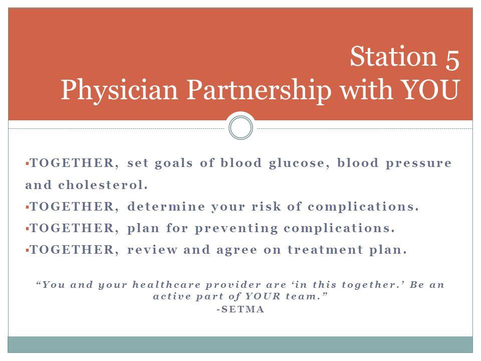 TOGETHER, set goals of blood glucose, blood pressure and cholesterol. TOGETHER, determine your risk of complications. TOGETHER, plan for preventing co