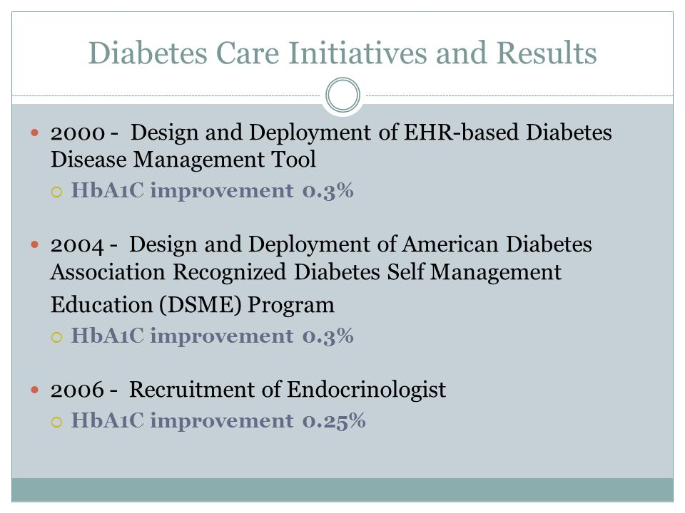 Diabetes Care Initiatives and Results 2000 - Design and Deployment of EHR-based Diabetes Disease Management Tool HbA1C improvement 0.3% 2004 - Design and Deployment of American Diabetes Association Recognized Diabetes Self Management Education (DSME) Program HbA1C improvement 0.3% 2006 - Recruitment of Endocrinologist HbA1C improvement 0.25%