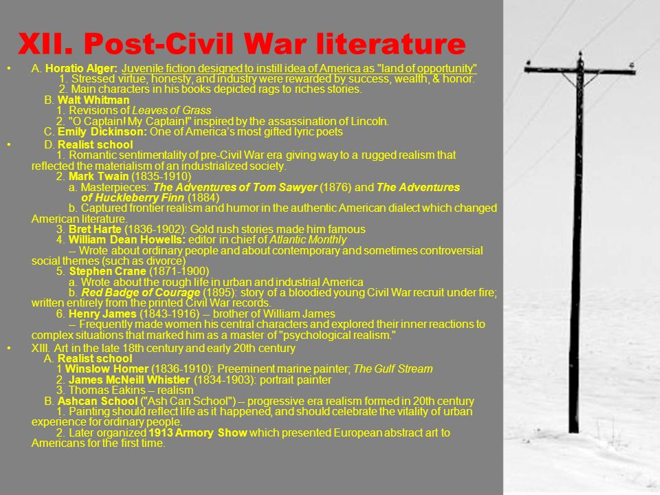 XII. Post-Civil War literature A.