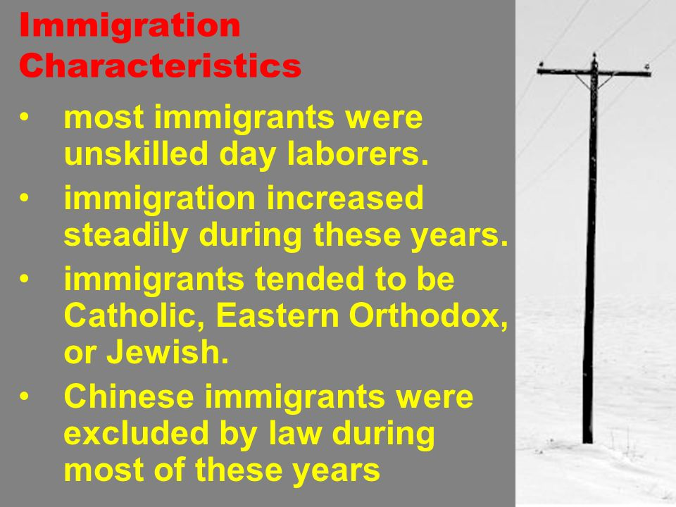 Immigration Characteristics most immigrants were unskilled day laborers.