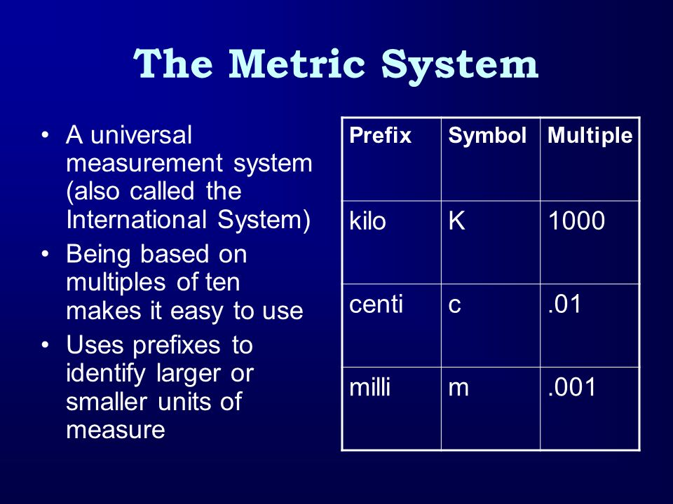 The Metric System A universal measurement system (also called the International System) Being based on multiples of ten makes it easy to use Uses pref