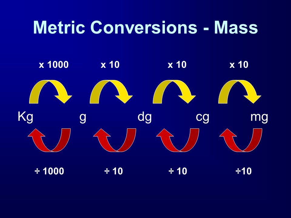 Metric Conversions - Mass Kg g dg cgmg x 1000 x 10 x 10 x 10 ÷ 1000 ÷ 10 ÷ 10 ÷10
