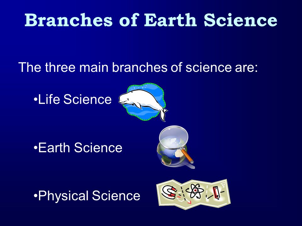 Branches of Earth Science The three main branches of science are: Life Science Earth Science Physical Science