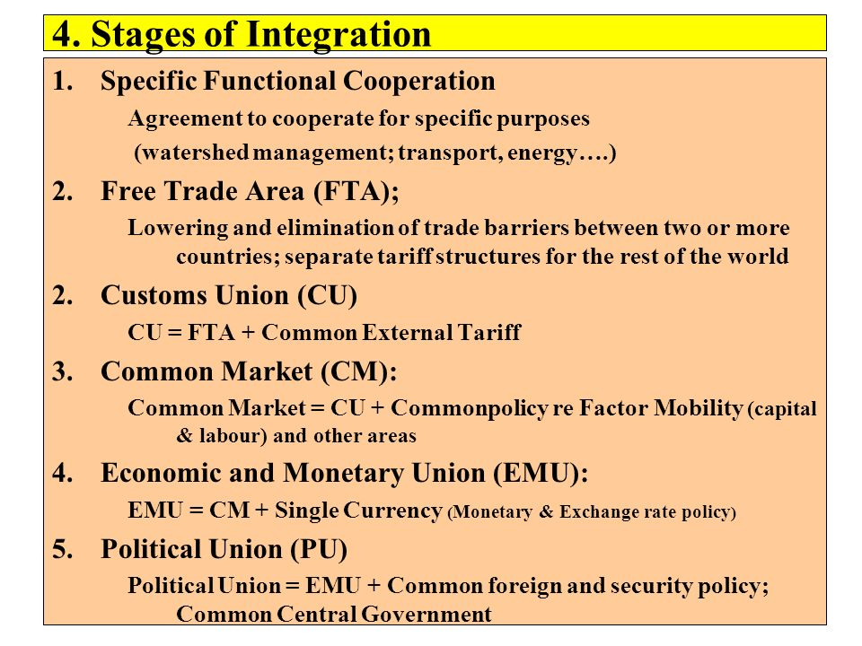 4. Stages of Integration 1.Specific Functional Cooperation Agreement to cooperate for specific purposes (watershed management; transport, energy….) 2.