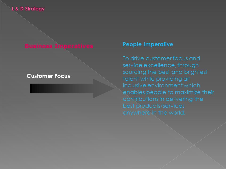 Customer Focus People Imperative To drive customer focus and service excellence, through sourcing the best and brightest talent while providing an inclusive environment which enables people to maximize their contributions in delivering the best products/services anywhere in the world.