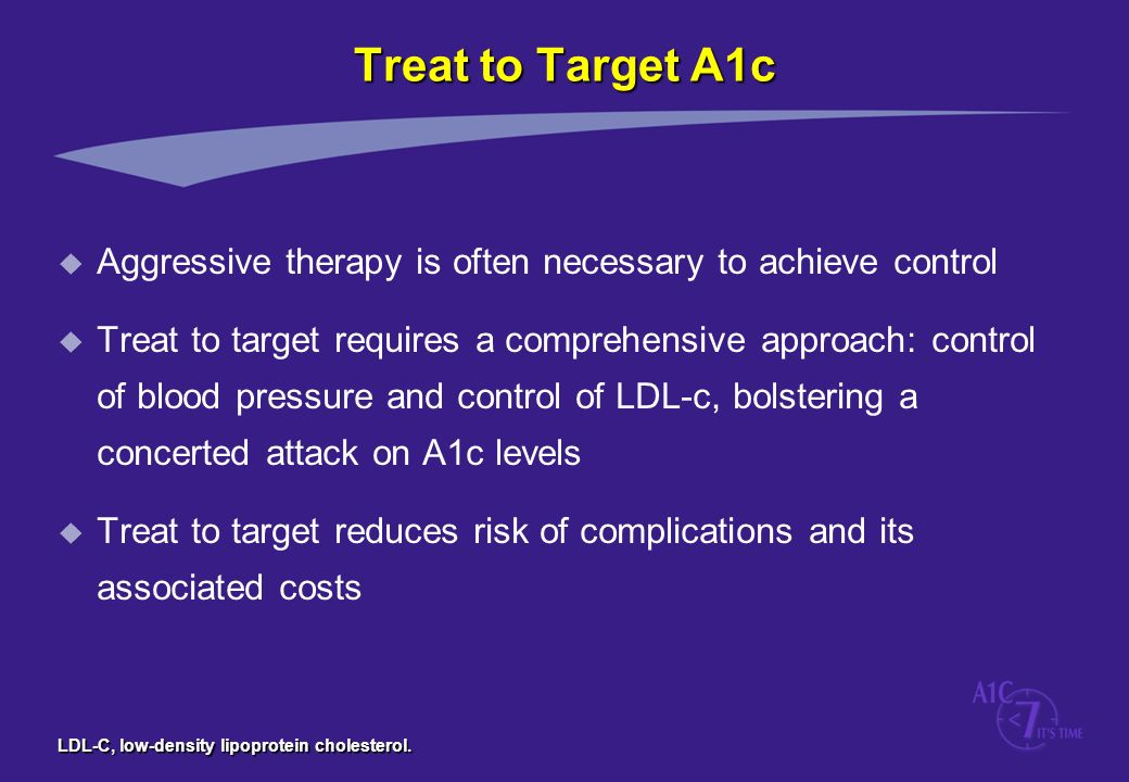 LDL-C, low-density lipoprotein cholesterol. Treat to Target A1c u Aggressive therapy is often necessary to achieve control u Treat to target requires