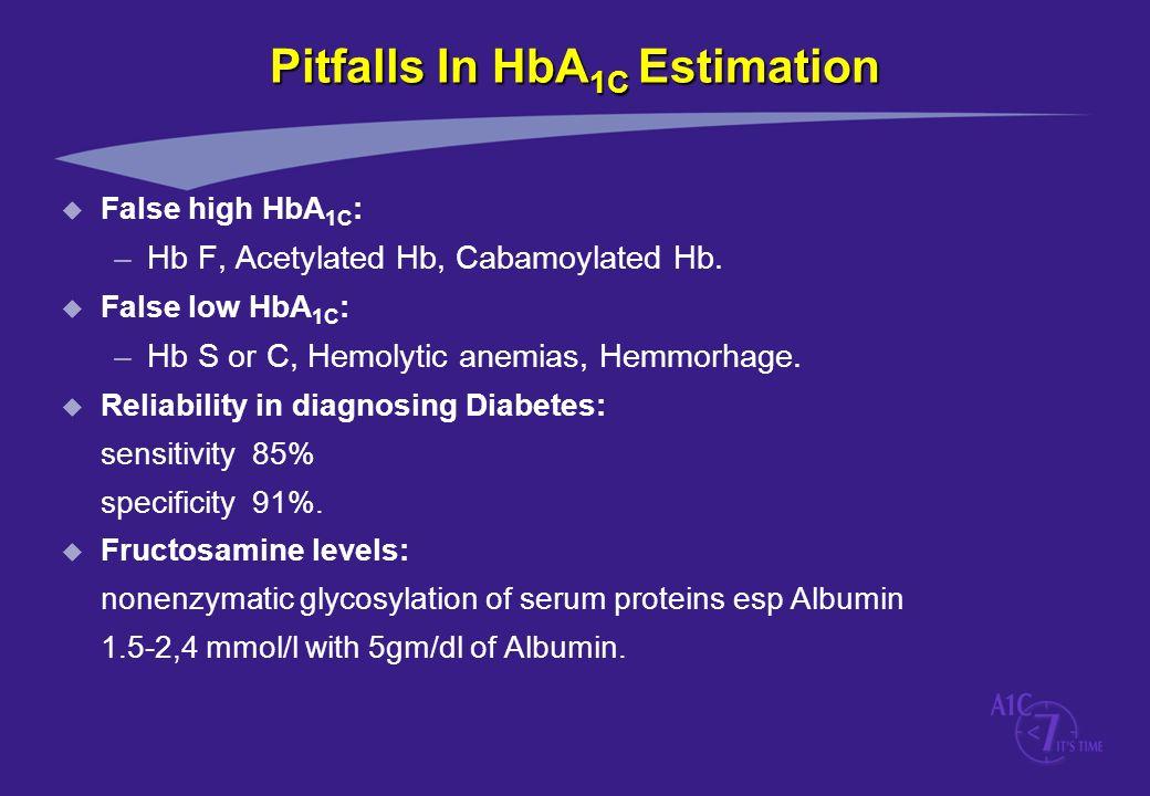 Pitfalls In HbA 1C Estimation u False high HbA 1C : –Hb F, Acetylated Hb, Cabamoylated Hb. u False low HbA 1C : –Hb S or C, Hemolytic anemias, Hemmorh